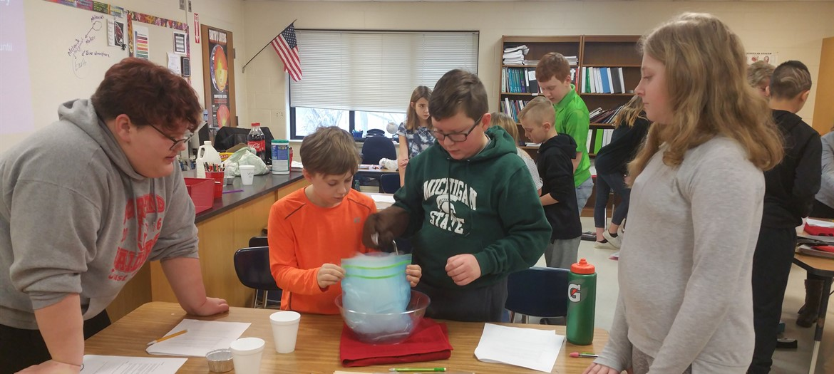Students making comets in Mrs. Martin's Science class!